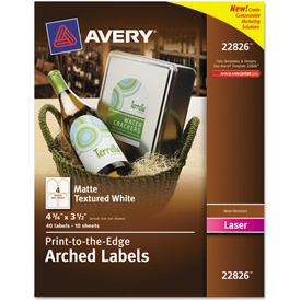 Avery® Textured Arched Easy Peel Labels, 4-3/4 x 3-1/2, White, 40/Pack