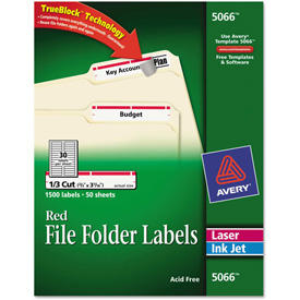 Avery Self-Adhesive Laser/Inkjet File Folder Labels, White, Red Border, 1500/Box by