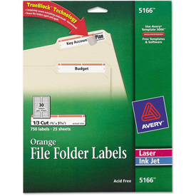 Avery Permanent Adhesive Laser/Inkjet File Folder Labels, Orange Border, 750/Pack by