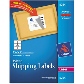 Avery® Shipping Labels with TrueBlock Technology, 3-1/3 x 4, White, Laser, 150/Pack