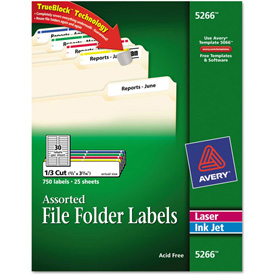 Avery Permanent Adhesive Laser/Inkjet File Folder Labels, Assorted, 750/Pack by