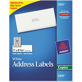 Buy Avery Self-Adhesive Address Labels for Copiers, 1 x 2-13/16, White, 3300/Box