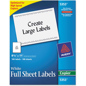 Buy Avery Self-Adhesive Full-Sheet Shipping Labels for Copiers, 8-1/2 x 11, White, 100/Box