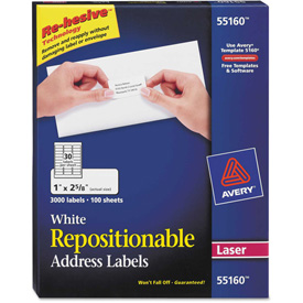 Buy Avery Repositionable Address Labels for Laser Printers, 1 x 2 5/8, White, 3000/Box