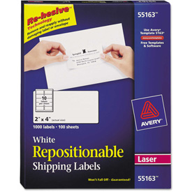 Buy Avery Repositionable Shipping Labels for Laser Printers, 2 x 4, White, 1000/Box