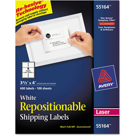 Buy Avery Repositionable Shipping Labels for Laser Printers, 3 1/3 x 4, White, 600/Box