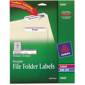 Avery Self-Adhesive Laser/Inkjet File Folder Labels, Purple Border, 750/Pack by