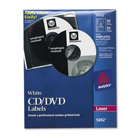 Avery 5692 Laser CD/DVD Labels, Matte White, 40/Pack