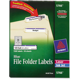 Avery Self-Adhesive Laser/Inkjet File Folder Labels, Blue Border, 1500/Box by