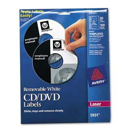Avery 5931 Laser CD/DVD Labels, Matte White, 50/Pack