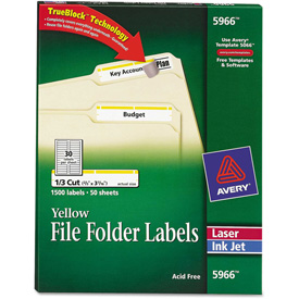 Avery Self-Adhesive Laser/Inkjet File Folder Labels, Yellow Border, 1500/Box by