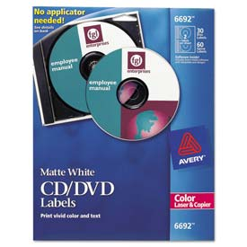 Avery 6692 Laser CD/DVD Labels, Matte White, 30/Pack