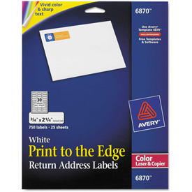 Buy Avery Return Address Labels for Color Laser & Copier, 3/4 x 2-1/4, Matte White, 750/PK