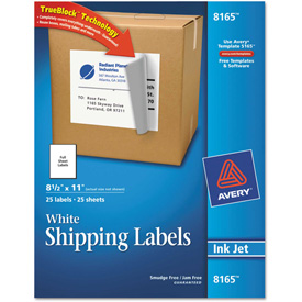 Avery® Shipping Labels with TrueBlock Technology, 8-1/2 x 11, White, Ink Jet, 25/Pack