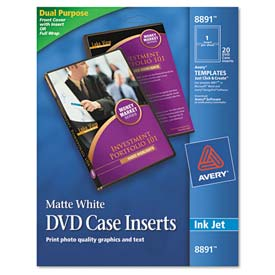 Avery 8891 Inkjet DVD Case Inserts, Matte White, 20/Pack
