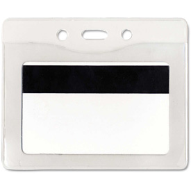 "Advantus Security ID Badge Holder, Horizontal, 3-7/8"" x 2-5/8"", Clear, 50/Box by"