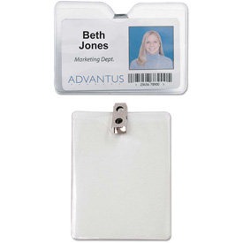 "Advantus ID Badge Holder w/Clip, Horizontal, 4"" x 3"", Clear, 50/Pack by"