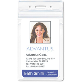 "Advantus Resealable ID Badge Holder, Vertical, 2-5/8"" x 3-3/4"", Clear, 50/Pack by"