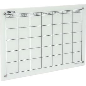 The Board Dudes 46008UA-1 GlassX Frosted Glass Dry Erase Board with Monthly Planner,35 x 23,Unframed