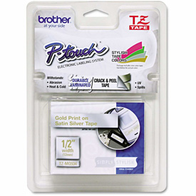 """Brother P-Touch TZ Labeling Tape, 1/2"""" x 16.4 ft., Gold/Silver by"""