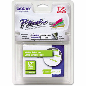 """Brother P-Touch TZ Labeling Tape, 1/2"""" x 16.4 ft., White/Lime Green by"""
