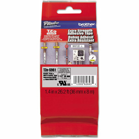 """Brother P-Touch TZ Extra Strength Labeling Tape, 1-1/2""""W, Black on Silver by"""