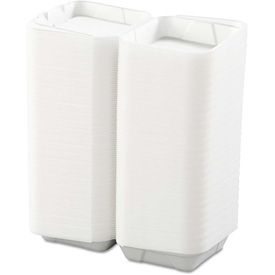 """Hinged Lid Foam Food Containers 8"""" x 8"""" x 3"""" White 1 Compartment 200 Pack by"""