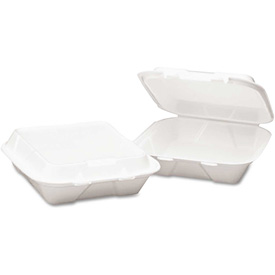 """Hinged Lid Foam Food Containers 8"""" x 8"""" x 3"""" White 3 Compartments 200 Pack by"""