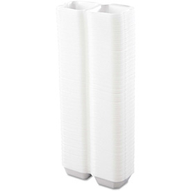 """Hinged Lid Foam Food Containers 6"""" x 6"""" x 3"""" White 1 Compartment 500 Pack by"""