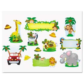 Carson-Dellosa Publishing CD-110152 Jungle Safari Bulletin Board Set,Various Animals,Assorted Colors