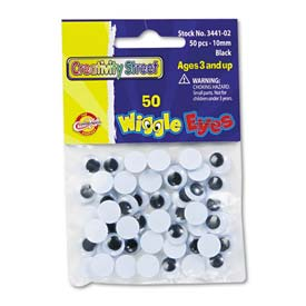 Creativity Street 3441-02 Round Black Wiggle Eyes, 10mm, Black, 50/Pack