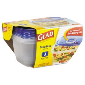 Glad® GladWare Deep Dish Food Container w/Lid, 64 oz, Plastic, Clear, 18/Carton