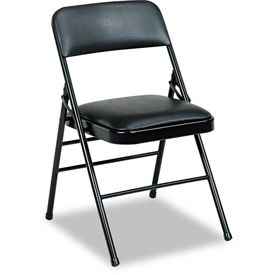 Triple Brace Vinyl Upholstered Folding Chair - Black (Carton of 4)