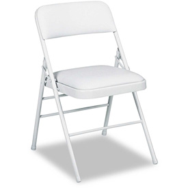 Triple Brace Vinyl Upholstered Folding Chair - Gray (Carton of 4)