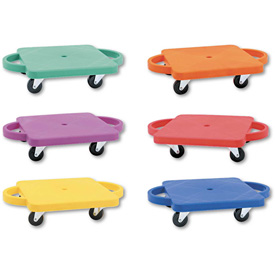 Champion Sports PGHSET Scooter Set wSwivel Casters, Plastic/Rubber, 12 x 12, Assorted Colors, 6/Set