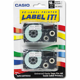 Buy Casio Tape Cassettes for KL Label Makers, 18mm x 26ft, Black on White, 2/Pack