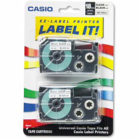 Buy Casio Tape Cassettes for KL Label Makers, 18mm x 26ft, Black on Clear, 2/Pack