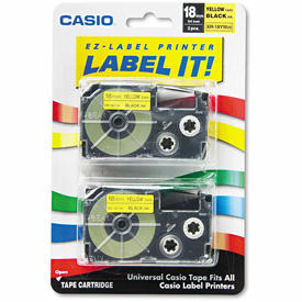 Click here to buy Casio Tape Cassettes for KL Label Makers, 18mm x 26ft, Black on Yellow, 2/Pack.