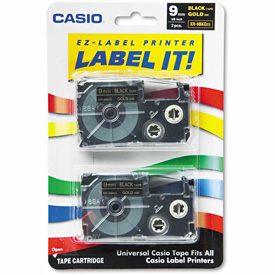 Buy Casio Tape Cassettes for KL Label Makers, 9mm x 26ft, Gold on Black, 2/Pack