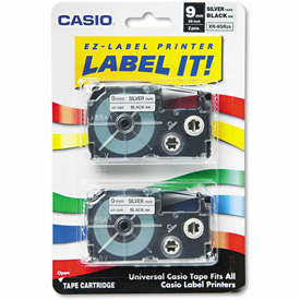 Click here to buy Casio Tape Cassettes for KL Label Makers, 9mm x 26ft, Black on Silver, 2/Pack.
