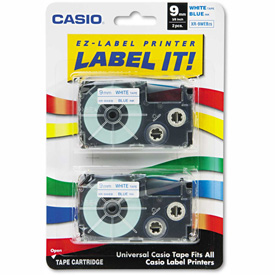 Buy Casio Tape Cassettes for KL Label Makers, 9mm x 26ft, Blue on White, 2/Pack