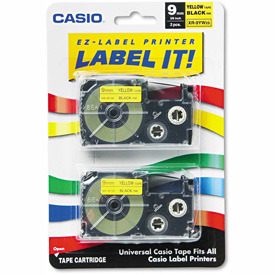 Buy Casio Tape Cassettes for KL Label Makers, 9mm x 26ft, Black on Yellow, 2/Pack