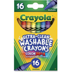 Crayola 526916 Washable Crayons, Regular, 8 Colors, 16/Box
