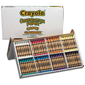 Crayola 528059 Construction Paper Crayons, Classpack, Wax, 20 Sets of 8 Colors, 160/Box