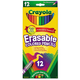 Crayola Erasable Colored Woodcase Pencils, 3.3 mm, 12 Assorted Colors/Set by