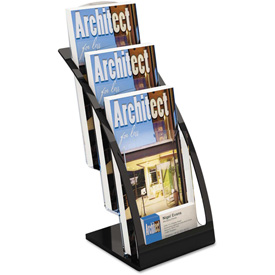 "deflect-o DEF693604 Three-Tier Leaflet Holder, 6-3/4""W x 6-15/16""D x 13-5/16""H, Black"