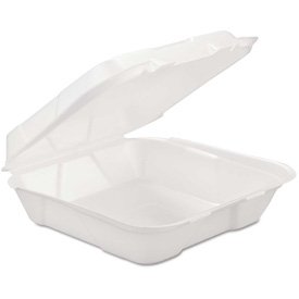 """Hinged Lid Foam Food Containers 9-1/4"""" x 9-1/4"""" x 3"""" 200 Pack by"""