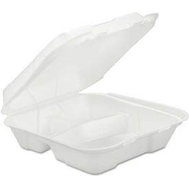 """Hinged Lid Foam Food Containers 9-1/4"""" x 9-1/4"""" x 3"""" 3 Compartments 200... by"""