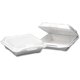 """Hinged Lid Foam Food Containers 9-1/4"""" x 9-1/4"""" x 3"""" 1 Compartment 200 Pack by"""