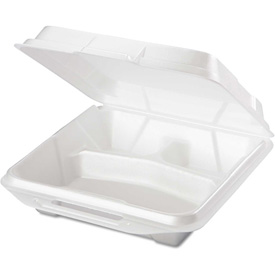 "Hinged Lid Foam Food Containers 9-1/4"" x 9-1/4"" x 3"" 3 Compartments - 200 Pack"